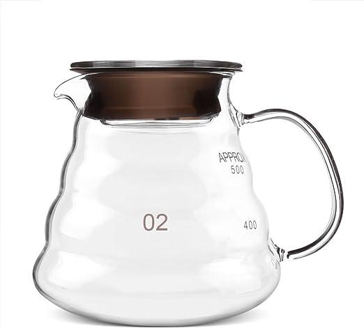 GLOGLOW Cafetera de Vidrio, 600 ml de Vidrio Espesado Resistente ...