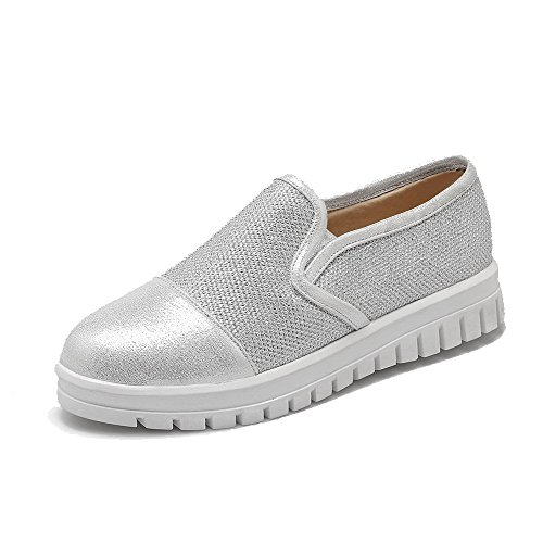 WeiPoot Soft Toe Round Shoes Material on Low Women's Pumps Closed Silver Solid Pull Heels gFwqgrAxfn
