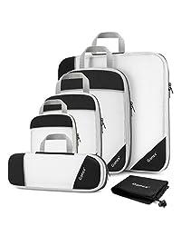 Gonex Compression Packing Cubes Mesh Organizers L+M+S+XS+Slim+Shoe Bag Black
