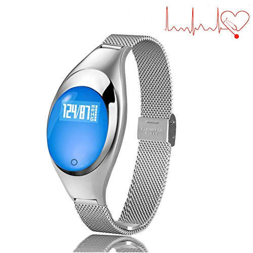 - TKSTAR Smart Band Fitness Tracker for Women Blood Pressure Waterproof Bluetooth 4.0 Smart Bracelet Sleep Monitor Sync Phone Rechargeable for Android Apple Samsung - Z18 (Silver)