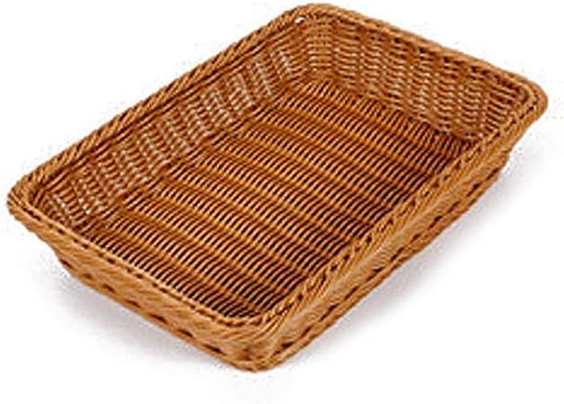Kbsin212 Bandeja de almacenamiento de ratán – Cesta de mimbre, rectangular, cesta de almacenamiento para pan, cesta tejida, café, 35*25*8cm: Amazon.es: Hogar