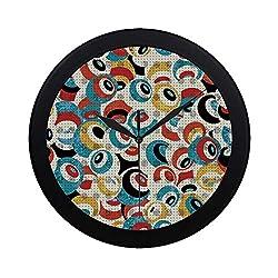 C COABALLA Psychedelic Circular Plastic Wall Clock,Retro Theme Circle Pattern Evil Eyes Design Techno Trance Design Art Print for Home,9.65 D
