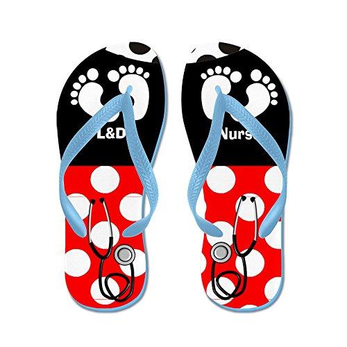 Cafepress Ld Nurse 9 Slippers - Flip Flops, Grappige String Sandalen, Strand Sandalen Caribbean Blue