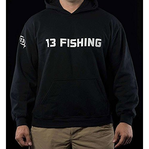 13 Fishing HOODIEGYL-XXL Performance Cotton Hoodie Black wit