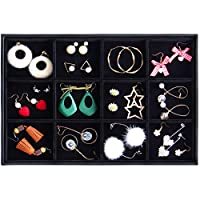 Valdler Velvet Stackable Renovable Grid Jewelry Tray Showcase Display Organizer
