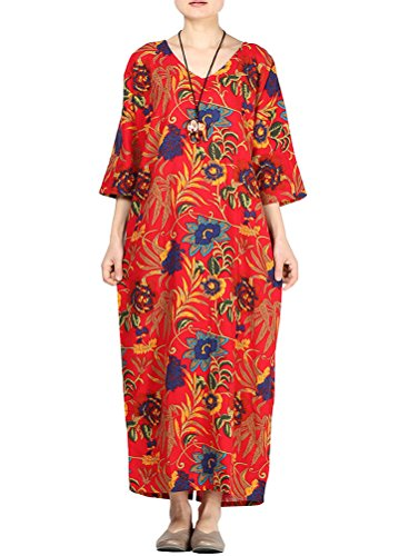 Minibee Womens Retro V-Neck Floral Print Dress with Pockets Fit US S-L