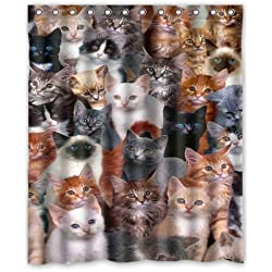 Cat Shower Curtain All Kinds Of Cats Background Waterproof Shower Curtain/Bath  Curtain