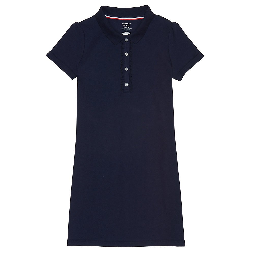 French Toast Girls' Big Short Sleeve Ruffle Placket Polo Dress, Navy, M (7/8)