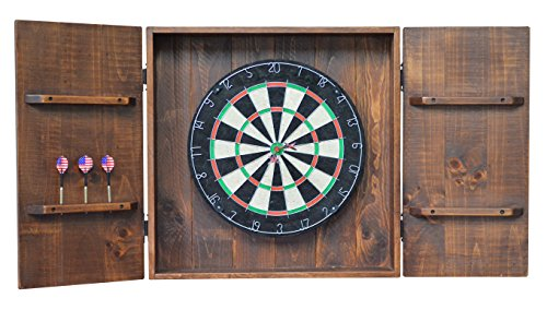 Country Rustic Wood and Iron Handcrafted Dart Board Wall Cabinet