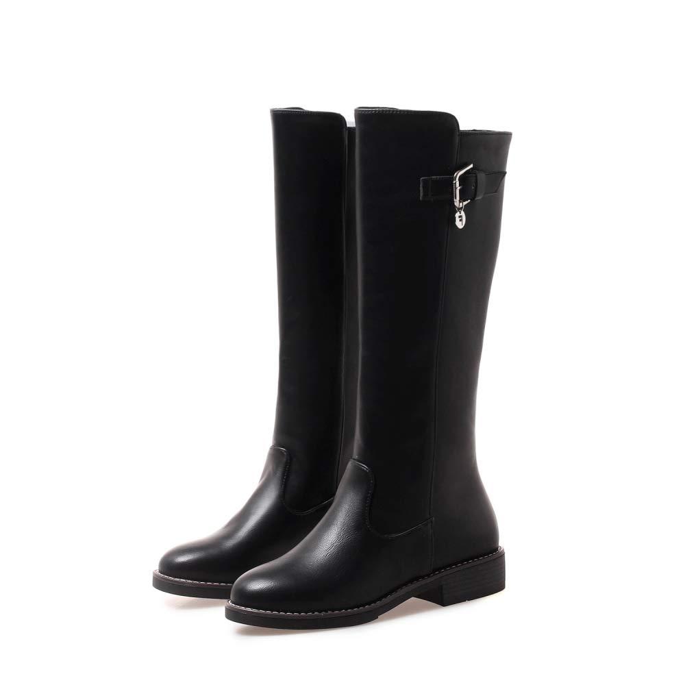 SHINIK Frauen Frauen Frauen Leder Ritter Stiefel 2018 Herbst Winter Niedrige Ferse Mode Schnalle Knie Stiefel 41d7a5