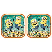 Square Despicable Me Dinner Plates, 2 Pack of 8 total 16ct