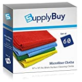 SupplyBuy Pro Multi-Surface Microfiber Towels | All-Purpose Cleaning Cloths | Pack of 60 - 16x16 (16'' x 16'')
