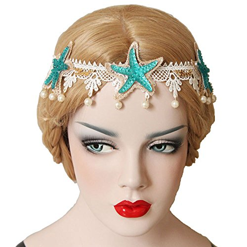 KingsCat Stylish Turquoise Starfish with Artificial Pearl Headband w/Beach Hairpin