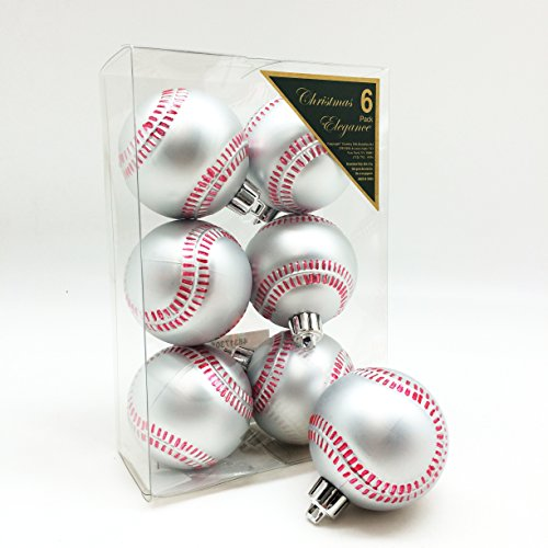Baseball Shatterproof Sports Ball Ornaments/Decorations, Set of 6PC, 65mm ( 2-1/2 Inch ) -