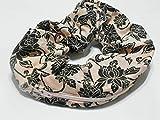 Peach Paisley Flower design Handmade Scrunchie Purse w zipper storage Great for Gym Swim Jog