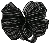 Offray Veronica Satin Edge Sheer Craft Ribbon, 1-1/2-Inch Wide by 25-Yard Spool, Black/Silver