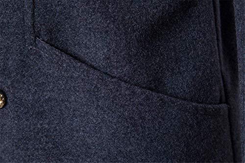di di Inverno Inverno Inverno Risvolto da Autunno Lunga Outwear Petto Trench Risvolto con Poliestere Uomo Risvolto Mode Lunga Dunkelgrau Manica BOLAWOO Doppio Marca Giacca Cappotto Vintage 16wpdq6