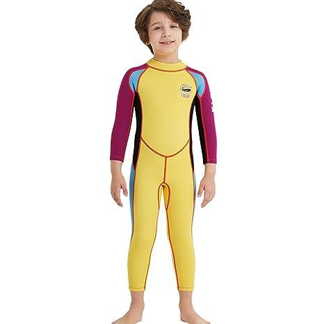 MERCHENLI Traje de niños Traje de baño siamés de Manga Larga cálido Sol Snorkeling SPA Surfing, 2.5MM, Yellow, XL