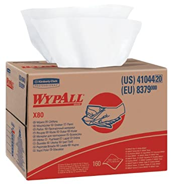 Wypall X80 Reusable Wipes (41044), Extended Use Wipers BRAG Box Format, White, 160 Sheets / Box; 1 Box / Case