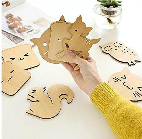 Fg276 Creative Animal Mats&pads Wood Coaster Insulation Mat 8pcs/lot Table Ornament Wholesale - Creative Crochet Doily