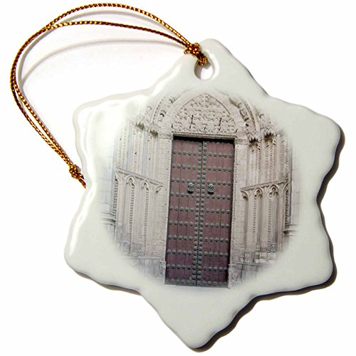 3dRose Cathedral Door, Toledo, Spain EU27 RTI0057 Rob Tilley Snowflake Ornament, 3'' by 3dRose
