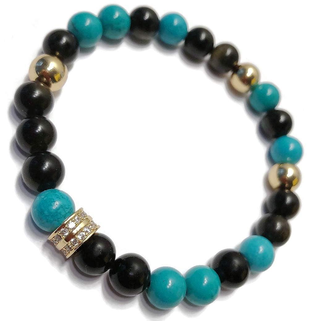 KarmaArm Mediation Bracelets CZ Diamond Pave Yoga Stretch Reiki Healing Energy Beaded Zen Self-Care Jewelry Golden Obsidian Healing : Turquoise