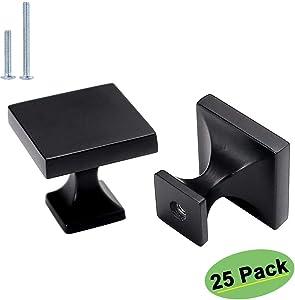 homdiy Kitchen Cabinet Knobs Black - HD6785BK Cabinet Hardware 25 Pack Cabient Door Knobs Square Knobs for Bathroom Cabinets