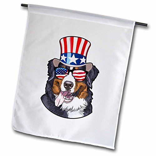 3dRose Patriotic American Dogs - Burmese Mountain Dog With American Flag Sunglasses and Top hat - 12 x 18 inch Garden Flag (fl_282711_1) ()