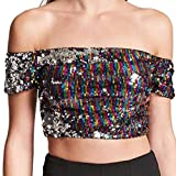 CHIDY Womens Tops Sexy Short Sequins Off Shoulder Fashion Camisole T-Shirt Blouse Party Clubwear Crop Tops Black