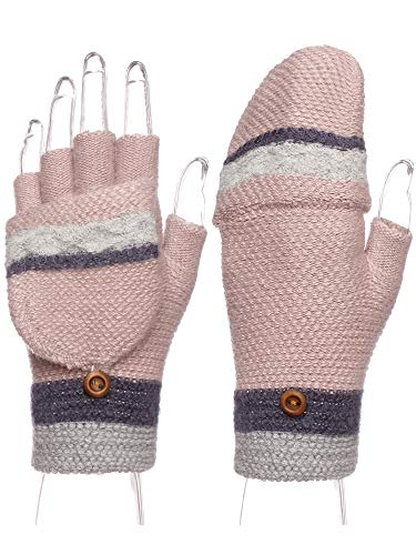 Emmalise Women Winter Fingerless Holiday Mitten Knitted Gloves Foldable Flap, Stripe Pink (Fingerless Gloves Mittens)