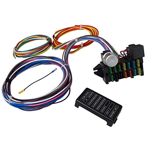 Circuit Wiring Harness Kit, 12 Circuit Universal Long Wires Wiring Harness Muscle Car Hot Rod Street Rod XL Wires with Accessory