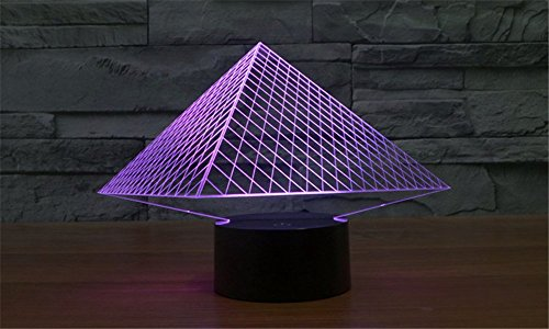 LOTOS 7 Colors Change 3D Optical Illusion USB Powered Egyptian Pyramids Touch Botton Mood Lamp Lighting Gadget Desk Lamp (Fixture Pyramid Cable)