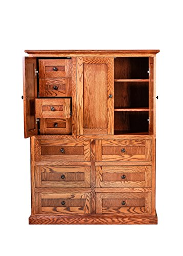 Cherry Drawer Dresser Ten - Forest Designs Mission Ten Drawer Armoire: 46W X 60H X 18D (Four Hidden Drawers) Cherry Alder
