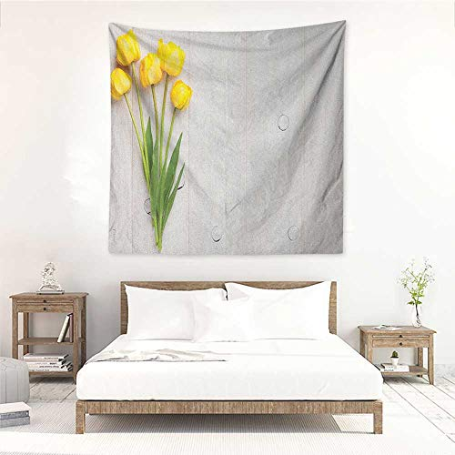 Yellow Fashion Square Tapestry Colorful Tulips on a Rustic White Wooden Yellow Board with Spring Theme Home Decorations for Bedroom Dorm Decor 63W x 63L INCH Yellow White Lime Green