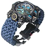 Paracord-DIY Navy Blue Paracord Watch Band Outdoor Survival Watch Bracelet with Flint Fire Starter Compass Whistle