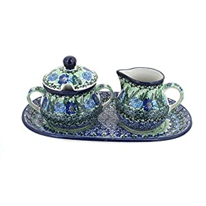 Blue Rose Polish Pottery Sapphire Fields Cream & Sugar Set with Tray
