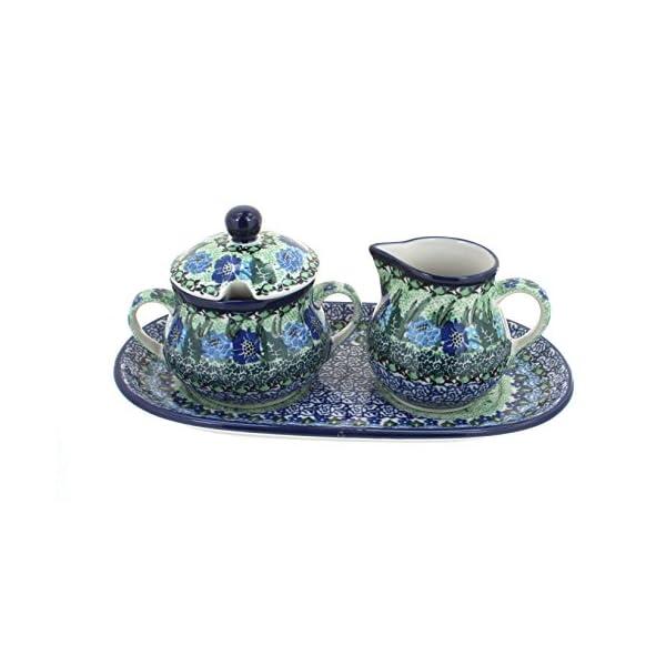 Blue Rose Polish Pottery Sapphire Fields Cream & Sugar Set with Tray