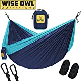 wwww Hammock for Camping - Single & Double Hammocks Gear For The Outdoors Backpacking Survival or Travel-DO Navy Blue & Forrest Greeni- DoubleOwl