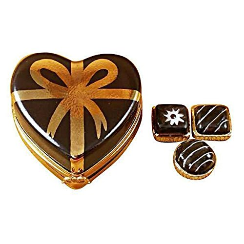 CHOCOLATE HEART W/GOLD BOW CANDY - LIMOGES PORCELAIN FIGURINE BOXES AUTHENTIC (Limoges Candy)