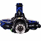 Lychee® 1500 Lumens 3 Mode LED Headlight Headlamp CREE XM-L T6 LED Super Bright Flashlight for Hunting, Camping, Night Fishing, Running, Repairing, Perfect Hands-free Rechargeable & Waterproof Work Light,Focus Adjustable