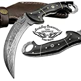 Buffalo Horn 8.2'' Fixed Blade Custom Handmade Damascus Steel Hunting Knife 100% Prime Quality