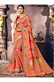 Indian Sarees For Women Designer Wedding Partywear Orange Color In Orange Cotton Silk