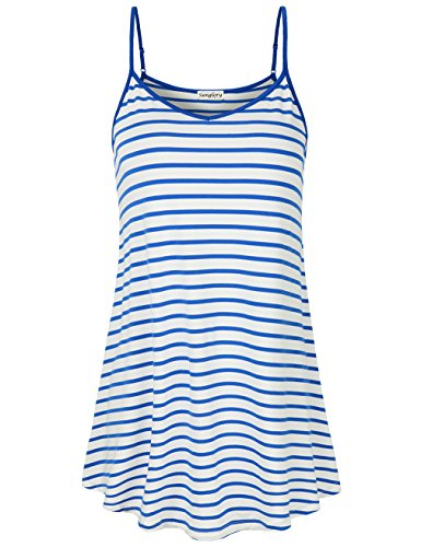 SUNGLORY Camisole for Women,Loose Stripes Strap Top Fit for Juniors Blue L