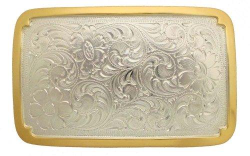 German Silver Eagle Belt Buckle - Western Southwest Belt Buckle Rectangle in Shape (Sterling Silver Finish)