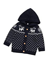 Mornyray Children Baby Boys Girls Sweater Cardigan Kids Christmas Knit Outerwear