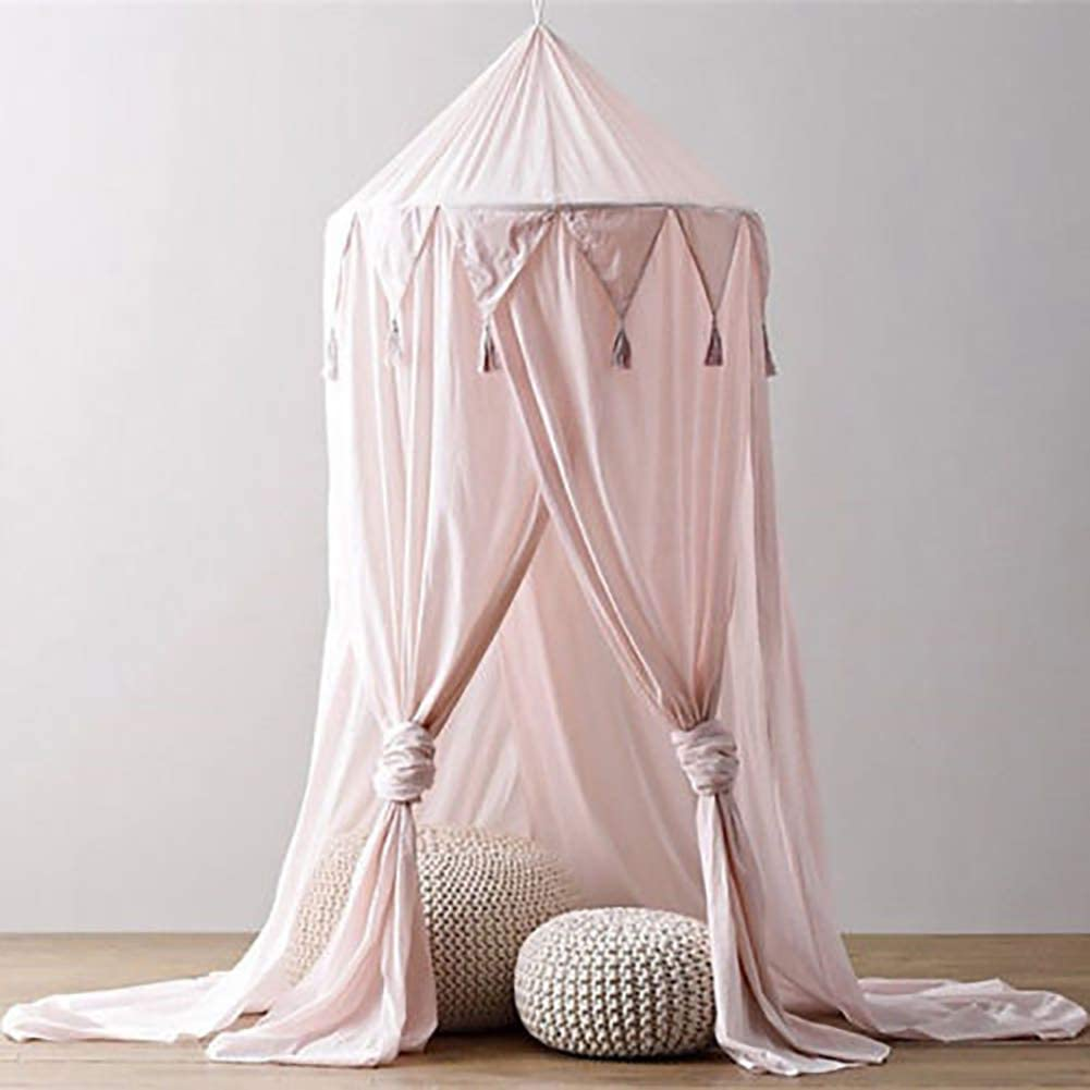 Bed Canopy with Lights,Mosquito Net Kids Round Dome Play Tent,Curtain Bedding Round Tent for Bedroom Decoration with 10M Lights Gray
