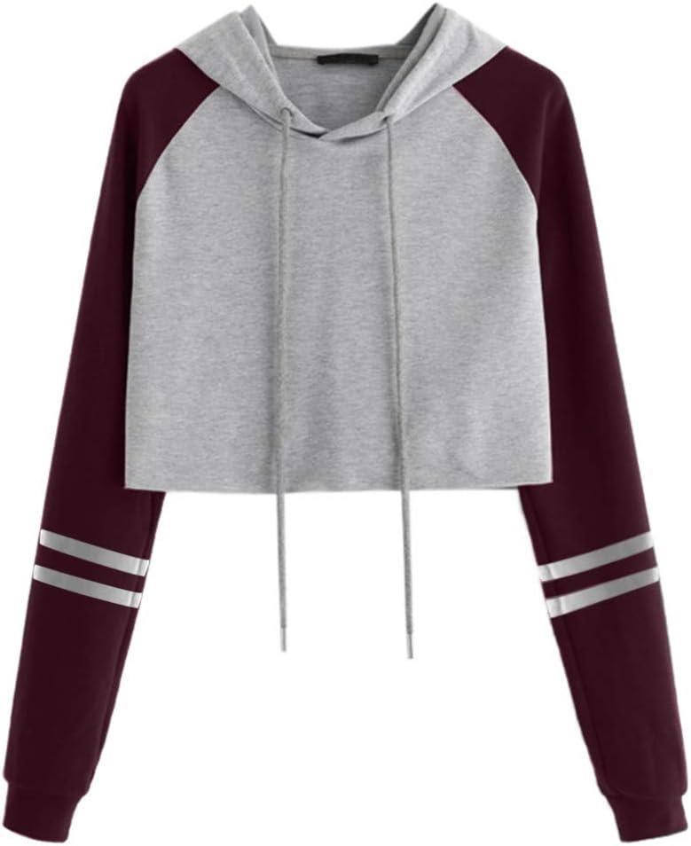 Damen Mode Langarm Bauchfrei Pullover Hoodie Crop Top Metallkette Sweatshirt