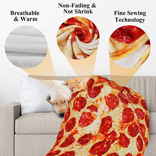 Lhedon Giant Pizza Blanket Kids 60 Inch,Plush Wrap Blanket Throw,Realistic FoodFlannel Pet BlanketTowel,Gift for Teens Boys Girls – Bed/Sofa/Couch/Travel