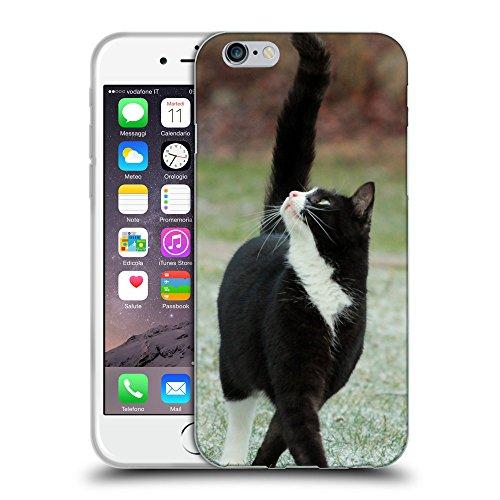 """Just Phone Cases Coque de Protection TPU Silicone Case pour // V00004216 noir chat marche et regarde // Apple iPhone 6 4.7"""""""