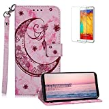 Funyee Magnetic Flip Case for Samsung Galaxy S9 Plus [Free Screen Protector],Luxury Moon Embossed Pattern PU Leather Soft Wallet Case [Built-in Credit Card Slots] for Samsung Galaxy S9 Plus,Rose Red